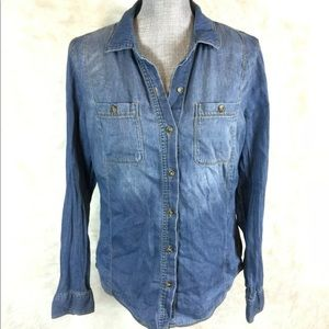 Life In Progress Chambray Button Down Shirt Top